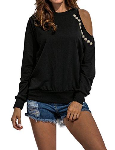 Leadingstar Women's Round Neck Long Sleeve Strapless Nail Bead Diamond Thin Hoodie Black M (Black Diamond Pullover)