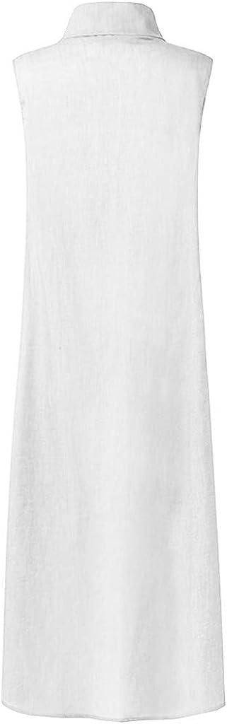 Farmerl Plus Size Dress for Women Cotton and Linen Button Sleeveless Split Dress