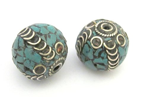 (1 BEADS - Large 20 mm size nepalese brass bead with turquoise mosaic inlay - Bd633)