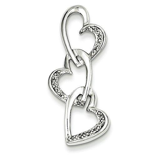 Argent Sterling diamant pendentif coeur-JewelryWeb Triple