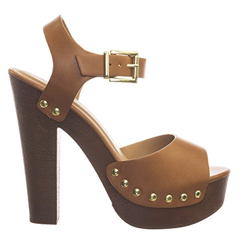 Delicious Retro 70s Lightweight Sculpted Faux Woodgrain Clog Block Heel Sandal Tan yiUsjx9