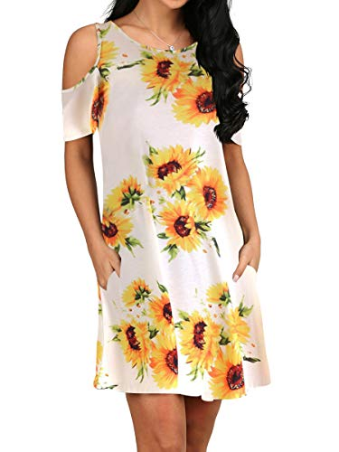 Womens Cold Shoulder Floral Flower Dresses with Pockets Sunflower White M -