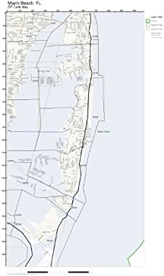 Amazon.com: ZIP Code Wall Map of Miami Beach, FL ZIP Code Map Not ...