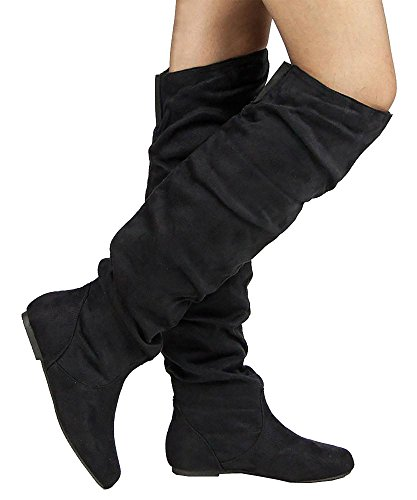 RF ROOM OF FASHION TrendHI-02 Over-The-Knee Boots (Black SU Size 7.5) by RF ROOM OF FASHION