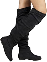 Trend-Hi Over-The-Knee Thigh High Flat Slouchy Shaft Low Heel Boots