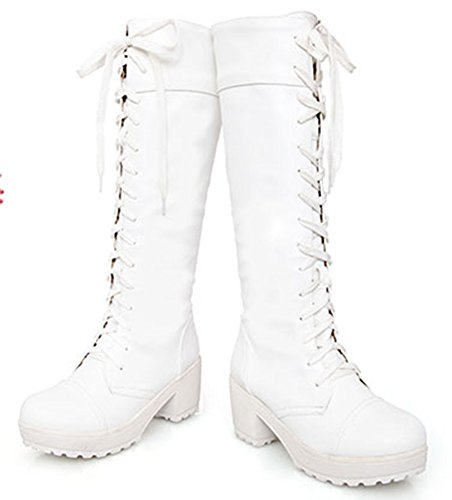 IDIFU Women's Comfy Lace Up Chunky Riding Knee High Boots