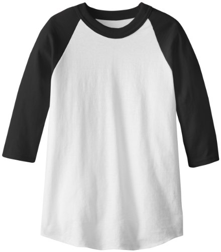 MJ Soffe Kid's 3/4 Sleeve Baseball Jersey, X-Small, Black