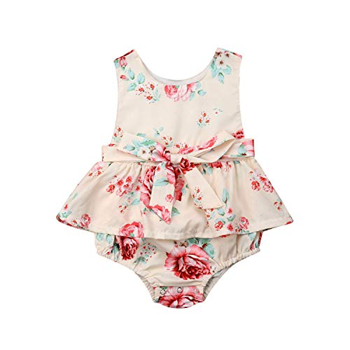 Princess Newborn Baby Girl Sleeveless Floral Bow Skirted Romper Jumpsuit One Pieces Outfits Summer Clothes(24M,as picture)]()
