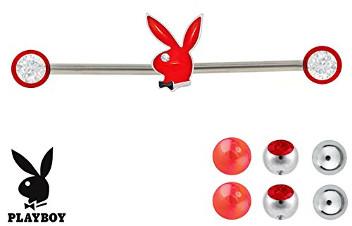 (Red Playboy Bunny & 6 Red changeable balls Industrial Barbell ring Officially Licensed 14g)