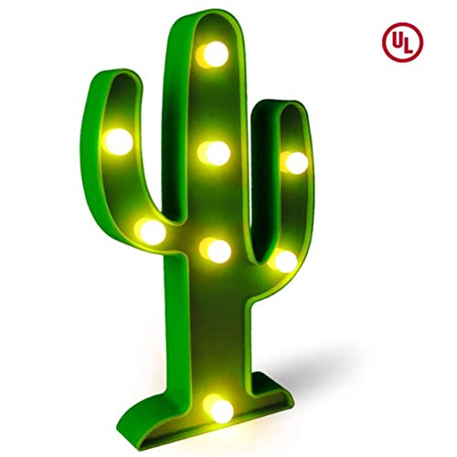 (LED Cactus Light, Fiesta Decorations Light,Tropical Cute Cactus Night Table Lamps,for Kids' Room, Bedroom, Gift, Party, Fiesta Party Supplies,Garden,Home Decorations (Green))