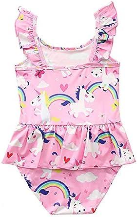 Baby Toddler Kids Girls One Piece Unicorn Bird Ptint Flamingo Swimwear Bathing Suit Sunsuit