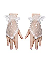 Flower Girls Gloves, Ivory Lace Net Voile Bowknot Princess Fingerless Cross Gloves