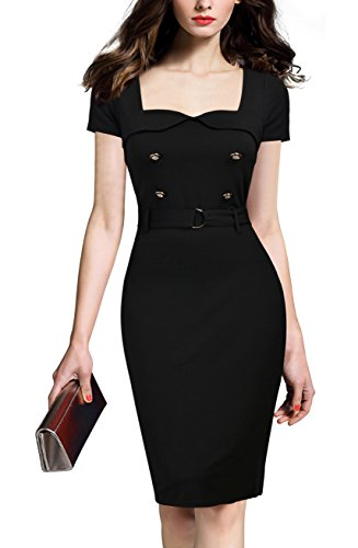 REPHYLLIS Women's Vintage Button Wear To Work Business Office Party Dress XL Black
