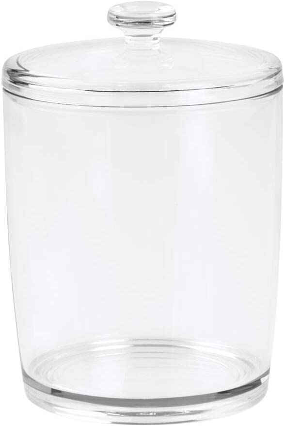 Great for Dogs Holds Pet Food Medical Kittens Cats Toys Treats Dental and Grooming Supplies Puppies Medium mDesign Tall Plastic Pet Storage Canister Jar with Lid Clear