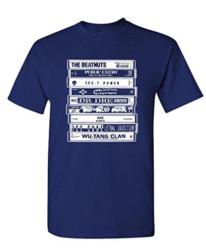 (Hip HOP Artists Cassettes Old School Rap - Mens Cotton T-Shirt, XL, Navy)