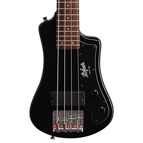 Hofner HCT-SHB-BK-O Shorty Electric Travel Bass Guitar with Gig Bag, Black