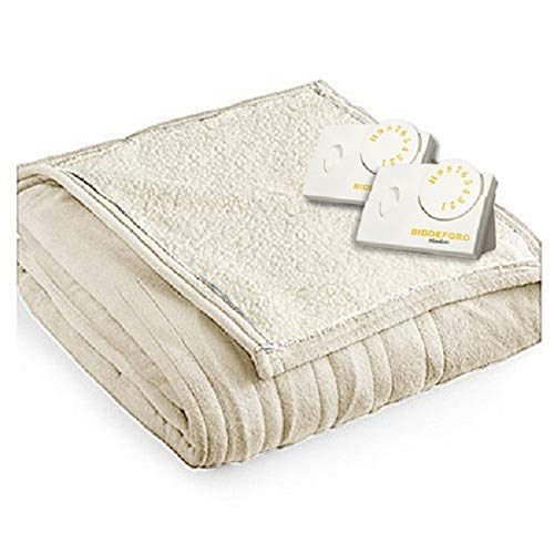 Biddeford 2064-9032138-780 MicroPlush Sherpa Electric Heated Blanket King Linen Tan