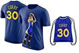 Steph Curry Jersey Style T-shirt Kids Curry Blue T-shirt Gift Set Youth Sizes ✓ Premium Quality ✓ ✓ Basketball Backpack Gift Packaging (YM 8-10 Years Old, Curry)