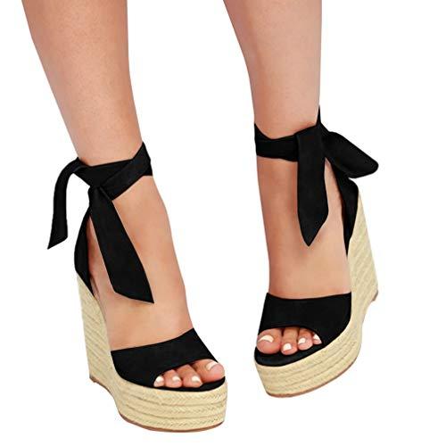 (Womens Tie Up Peep Toe Espadrille Platform Wedges Sandals Classic Ankle Strap Shoes Black)