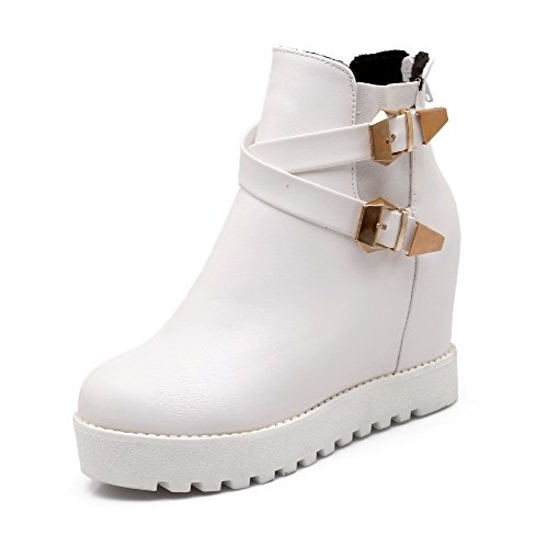 WeiPoot Women's Nappa Round Closed Toe High Heels Solid Boots, White, 40 (Halloween Store Portland Oregon)