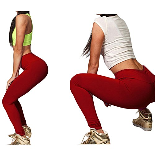 hjuns–Juego de las mujeres Yoga Running Pantalones Deportivos Cintura Alta Leggings Fitness pantalones rojo vino