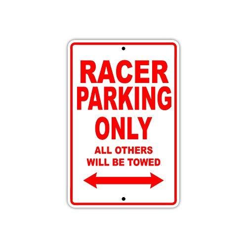Sign Nascar Parking (Racer Car NASCAR Parking Only Gift Decor Novelty Garage Metal Aluminum Sign 8x12 inch)