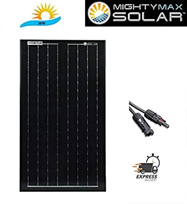 Mighty Max Battery 30 Watts Solar Panel 12V Mono Battery Charger for Trolling Motors Brand Product