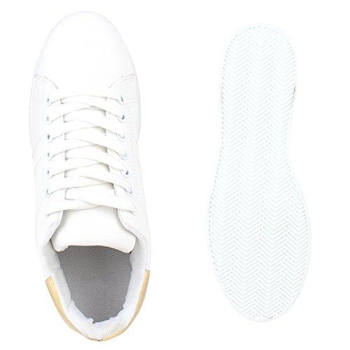 Scarpe Bianco weiss Basse Gold Da Donna Stiefelparadies Ginnastica gw8Axaqq