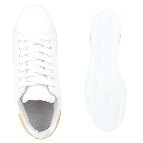 Stiefelparadies Damen Sneaker Low Basic Flandell Weiss Gold