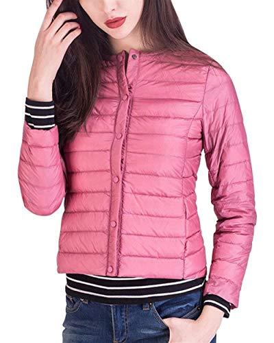 Pluma Festivo Plumas Sólido Outerwear Color Mujer Moda Manga Fit Chic Botones Vintage Invierno Larga Acolchado Abrigo Pink Elegantes Lindo Cierre Otoño Abrigos De Slim B1OOqXd