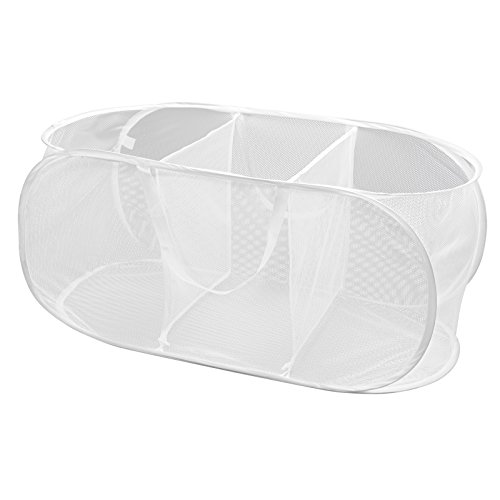 PRO-MART DAZZ Deluxe Mesh Pop Up 3 Compartment Laundry Sorter Hamper with Handles, White (Laundry Divider Basket)