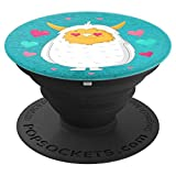 Cute Abominable Snowman Pink Hearts Teal - PopSockets Grip and Stand for Phones and Tablets