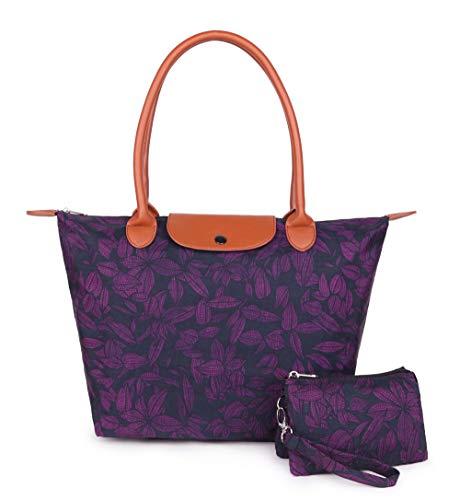 Crest Design Women's Large Handbag Tote Bag Shoulder Bag Purse for Work School Travel Gym Shopping Beach (Dark Magenta leaves)