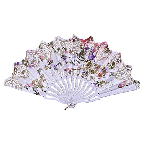 OutTop(TM) Folding Hand Fan for Men/Women Vintage Chinese/Spanish Style Best Dance Wedding Party Lace Silk Folding Hand Held Flower Fan -