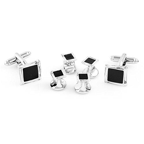 MRCUFF Black Onyx Square Designer Tuxedo Cufflinks & Studs Set in a Presentation Gift Box & Polishing - Stud Cufflinks Designer