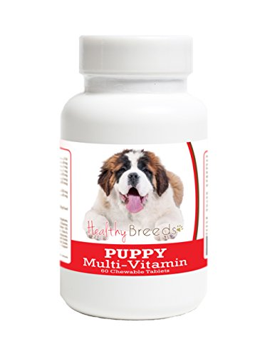 Healthy Breeds Puppy Multi-Vitamin Chewable Tables for Saint Bernard - Over 100 Breeds - Veterinarian Formulated Daily Dietary Supplement - Liver Flavored Treats - 60 Chews ()