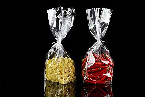 H 25 cm,300 Count W 5 Trasparente Cellophane Sacchetti per alimenti Regalo Pacchetto Borse,Size L 7.5 Base Quadrata