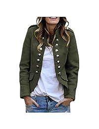 Zainafacai Women's Open Front Long Sleeves Retro Work Blazer Casual Buttons Jacket Suit Slim Fit Coat Outwear