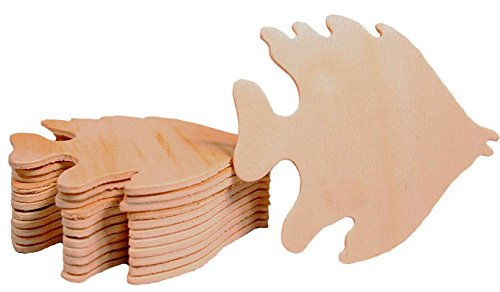 Creative Hobbies Unfinished Wood Fish Cutout Shapes, Ready to Paint or Decorate, 3.5 Inch Wide, Pack of 12