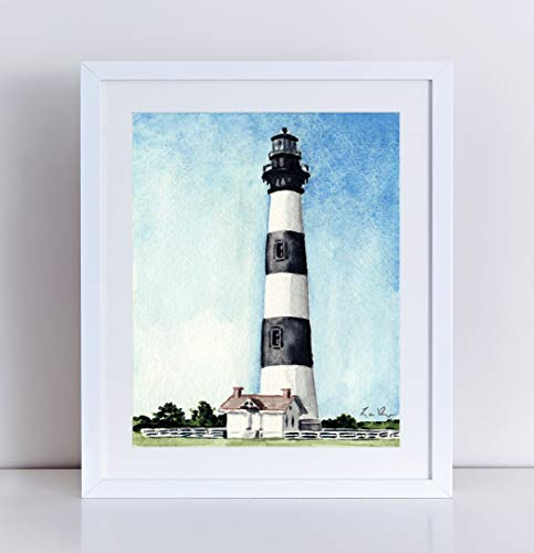 (Bodie Island Lighthouse Art Print Watercolor Painting Wall Home Decor North Carolina Coast Outer Banks Light House Nautical Beach House Coastal Southern Style Inspirational Canvas)