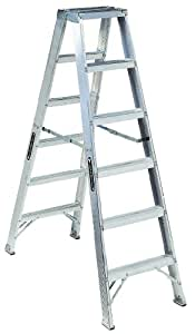 Louisville Ladder AM1006 300-Pound Duty Rating Aluminum Twin Front Step Ladder, 6-Foot