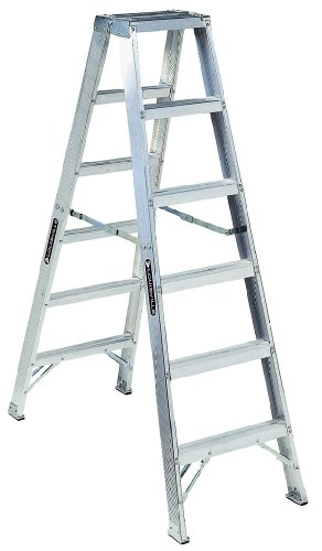 Louisville Ladder AM1006 300-Pound Duty Rating Aluminum Twin Front Step Ladder, 6-Foot ()