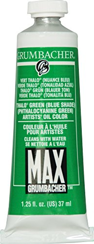 Grumbacher Max Water Miscible Oil Paint, 37ml/1.25 oz, Thalo Green (Blue Shade) by Grumbacher