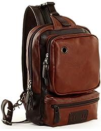 Men's Unbalance Chest Pack Leather Multipurpose Backpack Crossbody Shoulder Bag Travel Sling Bag