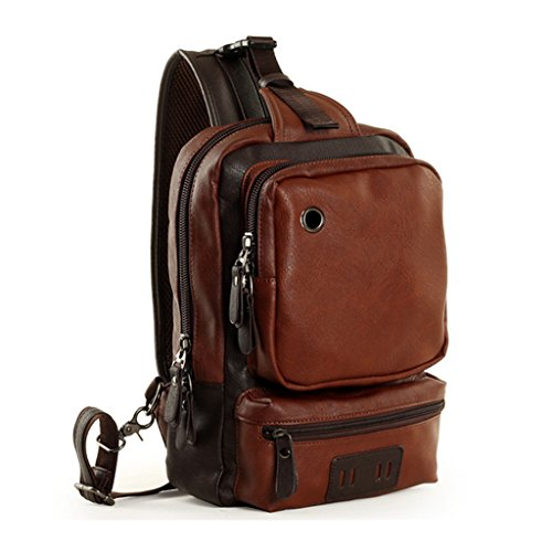 LINGTOM Men's Unbalance Chest Pack Leather Multipurpose Backpack Crossbody Shoulder Bag¬ Travel Sling - Backpack Leather Sling