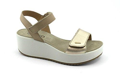 IGI&Co Zapatos 1176377 Platino Sandalias de Cuña de Cuero rasgan Oro