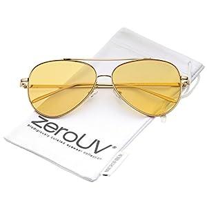 zeroUV - Retro Metal Frame Double Nose Bridge Color Flat Lens Aviator Sunglasses 60mm (Gold / Orange)