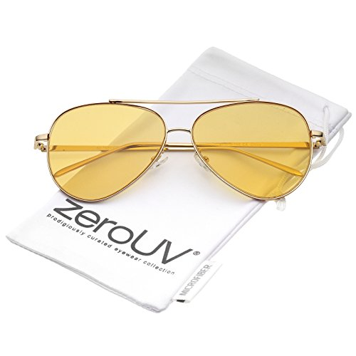 zeroUV - Retro Metal Frame Double Nose Bridge Color Flat Lens Aviator Sunglasses 60mm (Gold / - Tinted Orange Aviators