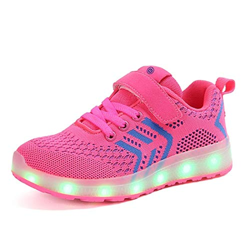 KeboBan USB Charger Glowing Sneakers Led Children Lighting Boys/Girls Illuminated Sneaker Pink 2 M US