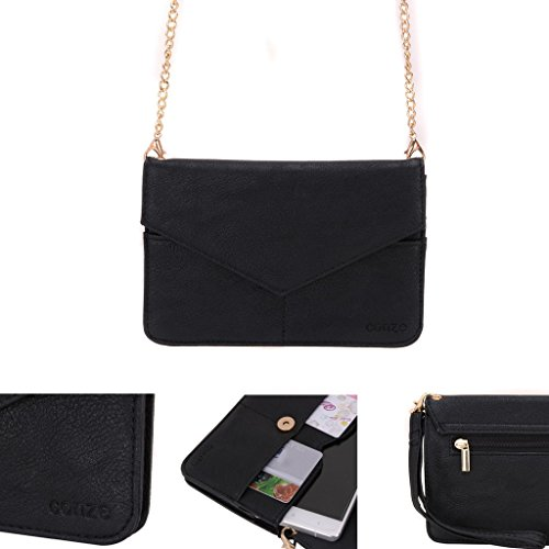 Conze Mujer embrague cartera todo bolsa con correas de hombro para Smart Phone para BLU Life Pure Mini/Play Mini negro negro negro